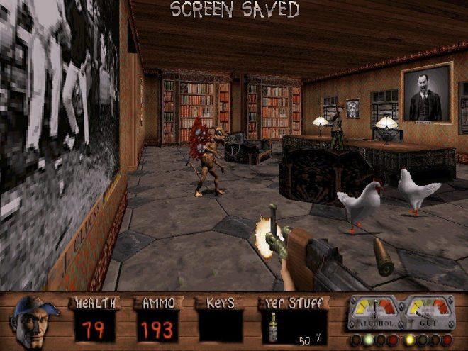 """Активното меню на екрана включва освен стандартните """"health и ammo bar"""", така и """"Drunk Gut meter"""" ."""