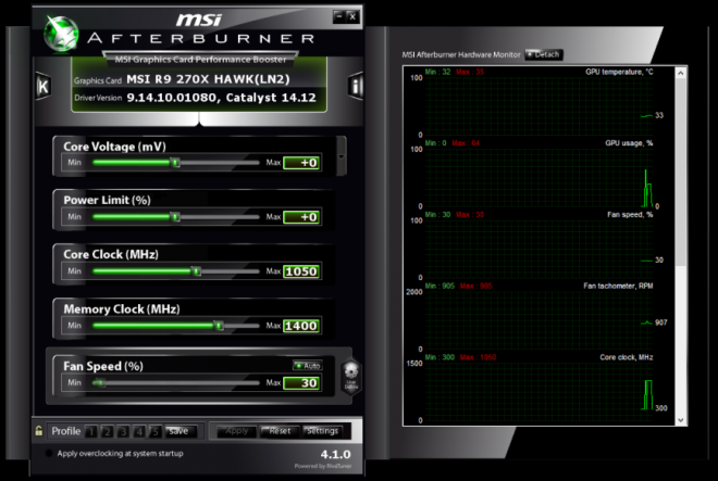 Скрийншот от MSI Afterburner