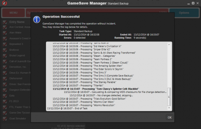 Скрийншот от GameSave Manager