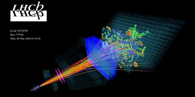 Нови субатомни частици - Компютърна реконструкция на събитието Ω0c -> Ξ+cK−. Изображение: колаборацията LHCb.
