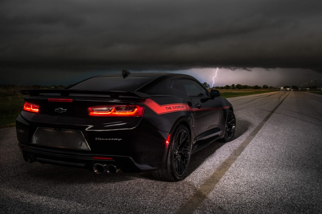 Camaro The Exorcist from the back in a stormy evening