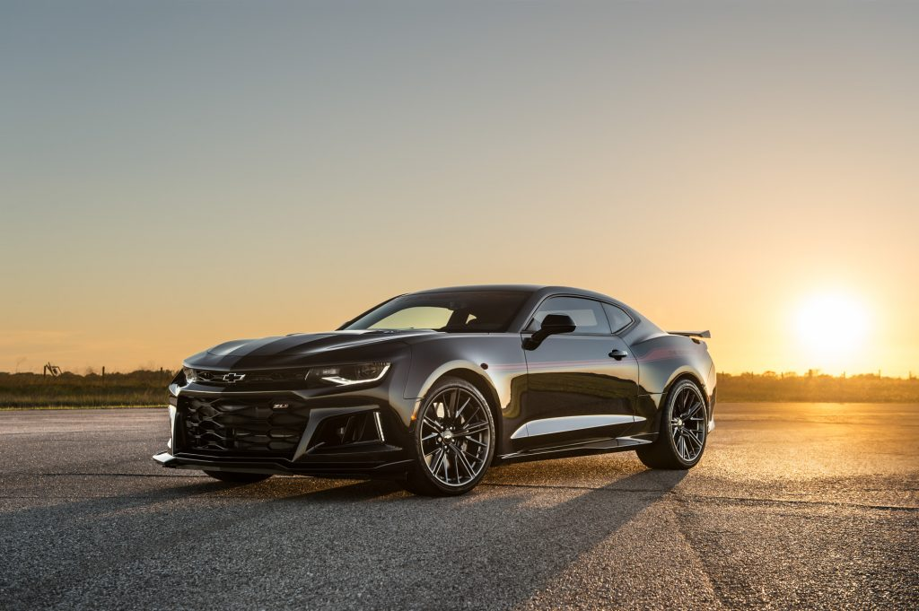 The new Hennessey Camaro Exorcist from the front on a sunset