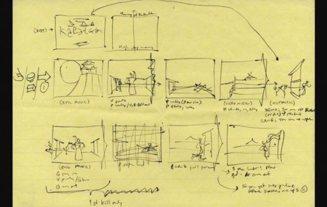 Мехнер собственоръчно рисува сториборд на Karateka, подобно на анимационен филм.