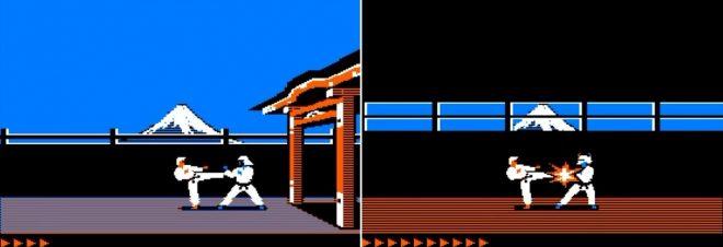 Екранът в Karateka се мести и се движите от открито, към различни нива на замъка.