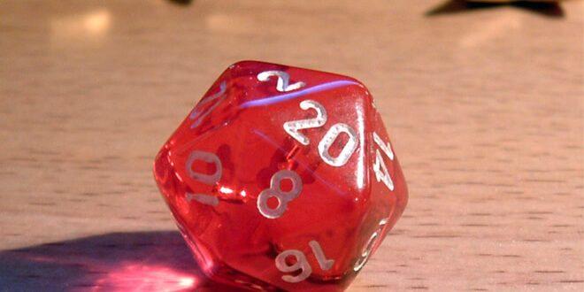 червен двадесет стенен зар за Настолни ролеви игри