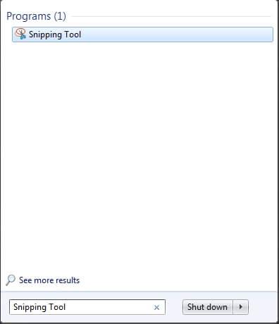 Отваряне на програмката Snipping Tool