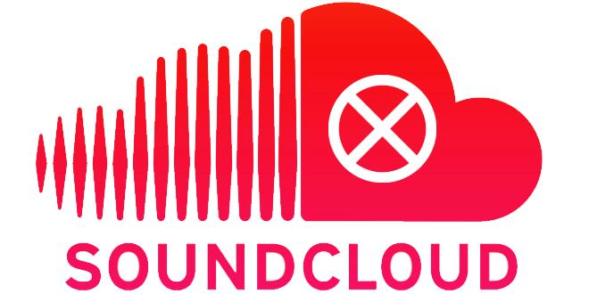 Червено лого със знак стоп на SoundCloud