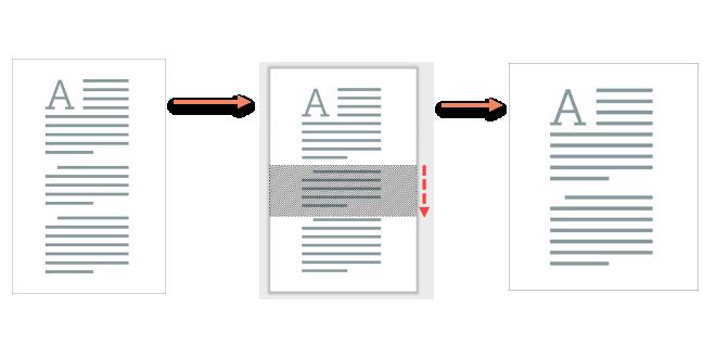 пример за инструмента за вътрешно изрязване - имаме страница с текст от 3 параграфа, от който с инструмента маркираме вторият параграф и получаваме нова картинка само с първият и третият параграф