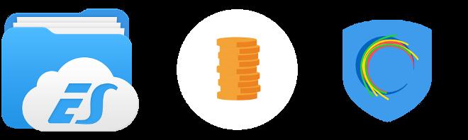 картина с иконите на приложенията es file explorer и Hotspot Shield VPN и изображение на колона от монети