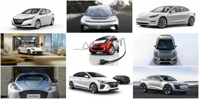 колаж от изображения на деветте най-очаквани електрически коли през 2018