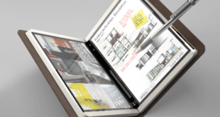 визуализация на устройство с двоен сгъваем екран и панта в средата