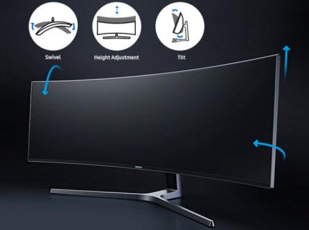 картината показва че позицията на монитора може да се настройва по желание в 3 измерения