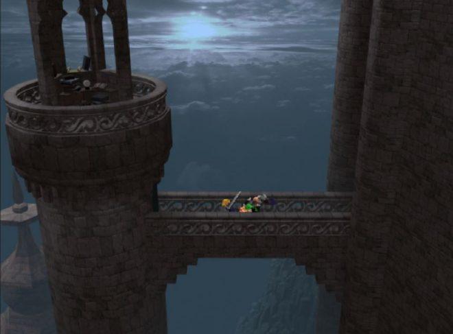 Прекрасен кадър от мост свързващ висока кула със замък.
