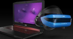 картина с лаптоп и новият шлем за виртуална реалност, и двете с марка Acer