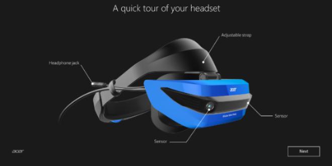 картина с обяснение на детайлите по шлема от комплекта на Acer Mixed Reality