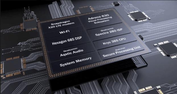 условно разделение на чипа на Snapdragon 845 на отделните функции като сигурност, Wi-Fi и други