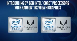 слайд от представянето на новите чипове на Intel с AMD RX Vega