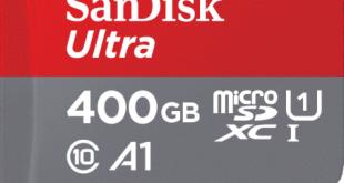 изображение на новата карта памет SanDisk MicroSD 400 GB.