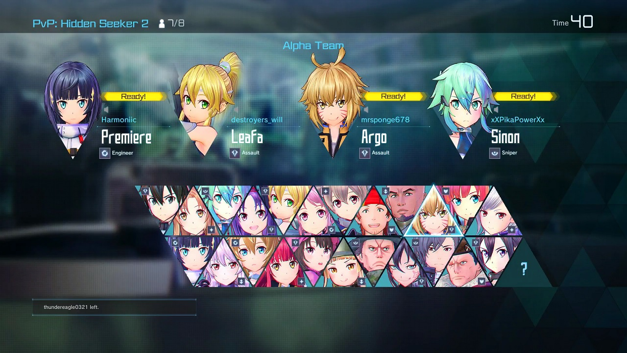 Sword Art Online: Fatal Bullet - Hero Battles character selection