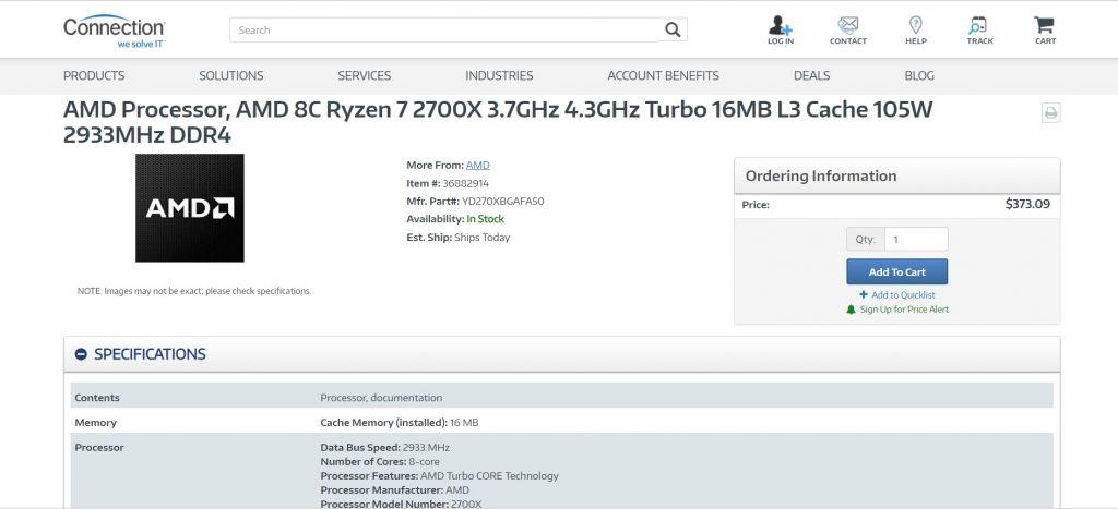 Скрийншот от сайта connection.com, показващ юбилейния процесор