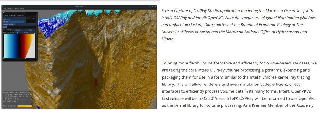 OSPRay Studio рендеринг на мароканския океан в статия за технологични новини, Intel Xe с ray tracing