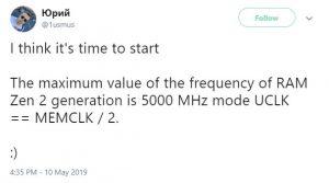 Украинецът 1usmus твърди че Ryzen 3000 има потенциал за честота на паметта от 5000MHz