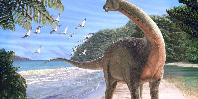 Изображение на динозавър и плаж в статия за времето, необходимо за Възстановяване на океанските системи