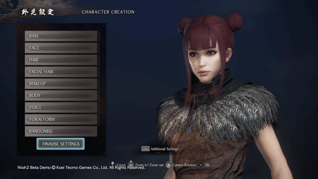 персонализирането на героя е приятно нововъведение в Nioh 2 demo