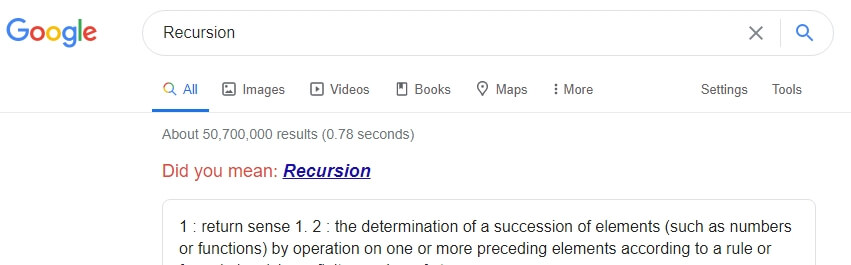 търсене на рекурсия в гугъл