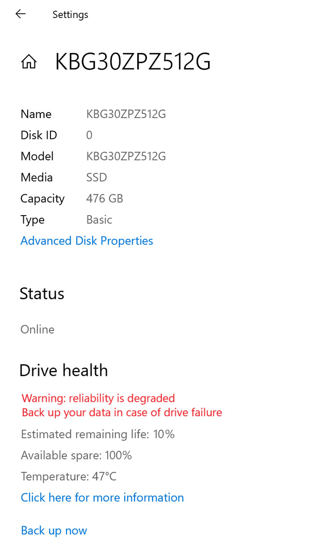 Windows 10 ще предупреждава за влошено здраве на SSD